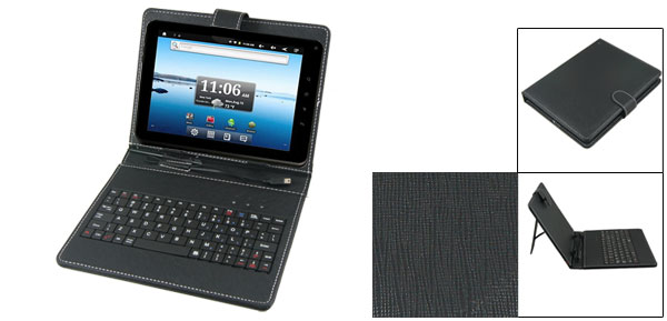 Black 8 Inch Faux Leather Keyboard Case Cover for Cobalt Android Tablet PC