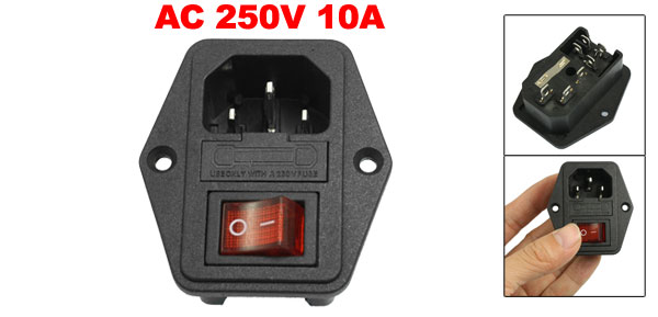 AC 250V 10A 3P IEC320 C14 Inlet Plug Power Socket + Fuse Holder Black Red