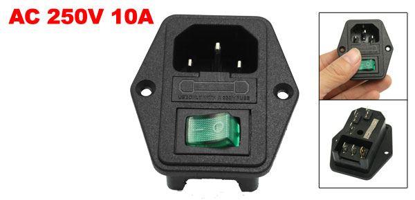 AC 250V 10A 3P IEC320 C14 Power Socket w Fuse Holder Black Green