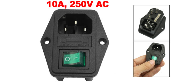 Black Green Plastic Housing IEC320 C14 Power Socket 3 Pins w Fuse Holder