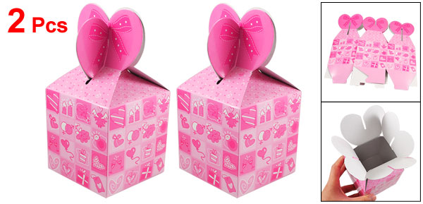 Hearts Pattern Pink Hook Loop Fastener Paper Foldable Gift Bag 2 Pcs