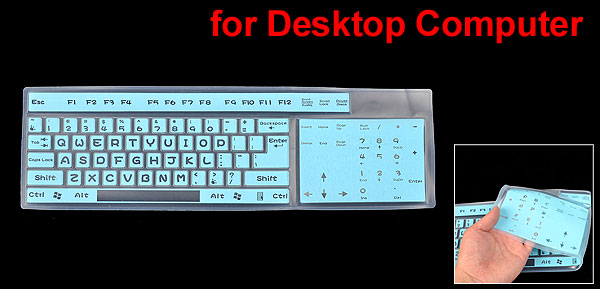 Flexible Silicone Keypad Keyboard Shield Guard Film Blue Clear for Desktop