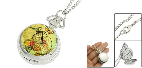 Bird Butterfly Pattern Silver Tone Chain Pocket Watch Necklace