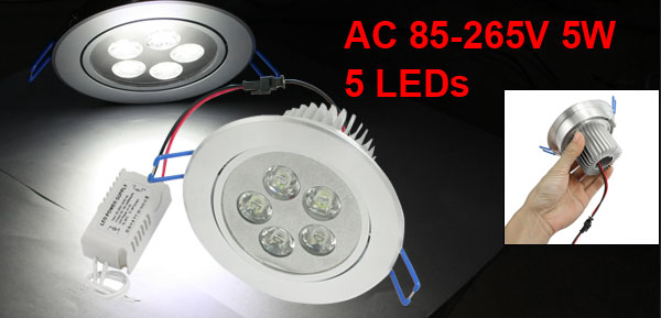 5W White 5 LED Ceiling Light Recessed Lamp AC 85-265V w LED Driver