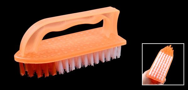 Hand Grip Orange White Bristles Scrubbing Brush for Clothes Floor
