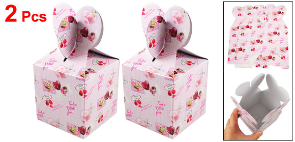 Rose Flower Pattern Pink Paper Foldable Gift Bag 2 Pcs