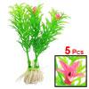 "5 Pcs Green Pink Floral Artificial Plastic Grass Plant 3.1"" Heiht..."