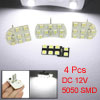 4 Pcs White T10 194 W5W Wedge SMD 5050 LED Light Bulb for Auto Ca...