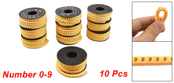 Orange Flexible PVC Number 0-9 Print 2.5mm2 Wire Cable Markers 10 Rolls