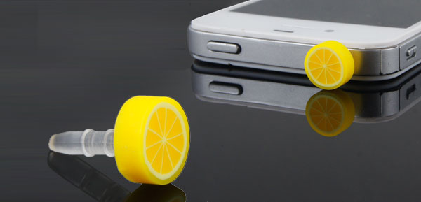 Cell Phone Fruit Orange 3.5mm Earphone Ear Cap Dust Jack