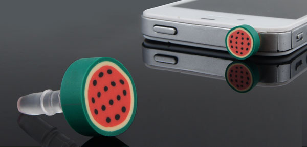 Round Green Fruit Watermelon 3.5mm Dust-proof Ear Cap for Smartphone MP4