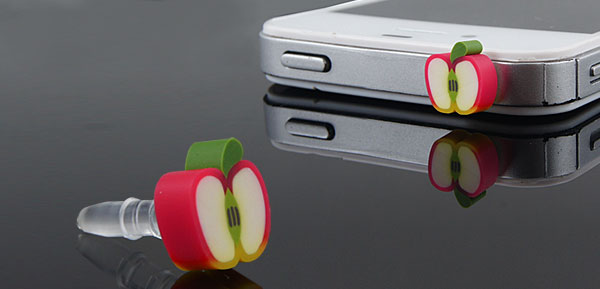 White Fruit Apple 3.5mm Earphone Ear Cap Dust Jack for Cell Phone Smartphone