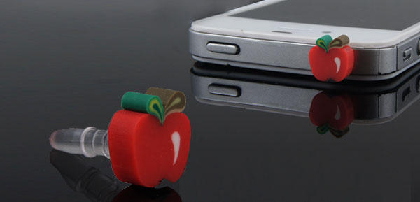 Red Apple Slice 3.5mm Anti Dust Ear Cap Stopper for Cell Phone Smartphone