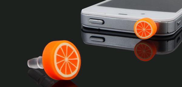 Round Fruit Orange Design 3.5mm Anti Dust Earphone Ear Cap for Mobile Phone MP3