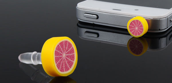 Red Fruit Orange 3.5mm Anti Dust Earphone Ear Cap for Smartphone MP4