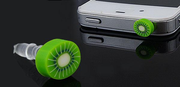Light Green Kiwi Fruit Accent 3.5mm Anti Dust Ear Cap
