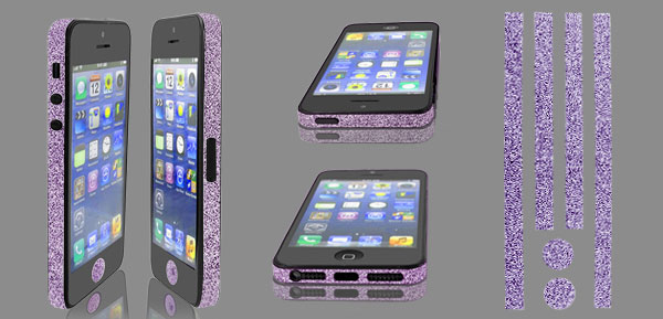 Purple Glitter Glittery Bumper Side Edge Skin Decal Sticker for iPhone 5 5G