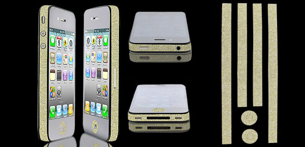 Gold Tone Glitter Glittery Bumper Side Edge Skin Decal Sticker for iPhone 5 5G