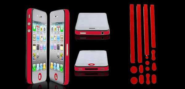 Red Bumper Side Edge Skin Decal Sticker for Apple iPhone 4 4G 4GS 4S
