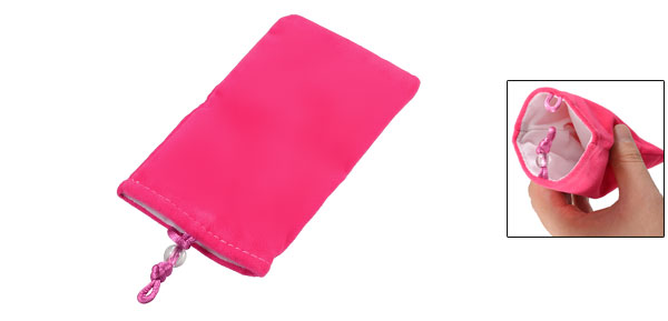 Fuchsia Soft Flannel Vertical Bead Button Closure Pouch Bag for Mobile Phone