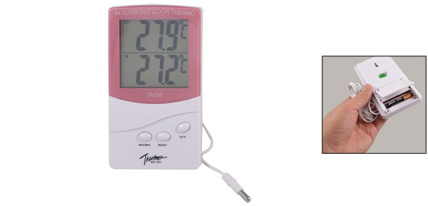 LCD Display Resettable Digital Indoor Outdoor Thermometer White Red
