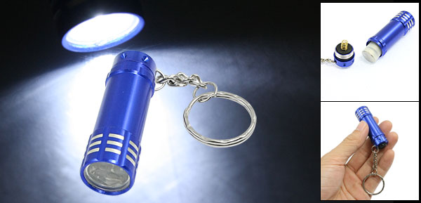 Cylinder Shaped 3 White LEDs Light Hand Pressing Flashlight w Keyring