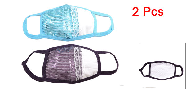 Women Sky Blue Black Anti Dust Spangle Decor Warm Mouth Mask Protector 2 Pcs