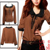 Ladies Brown Irregular Dots Pattern Pullover Blouse S