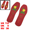 Red Yellow Flower Pattern Breathable Shoe Pad Insoles EU Size 38 ...