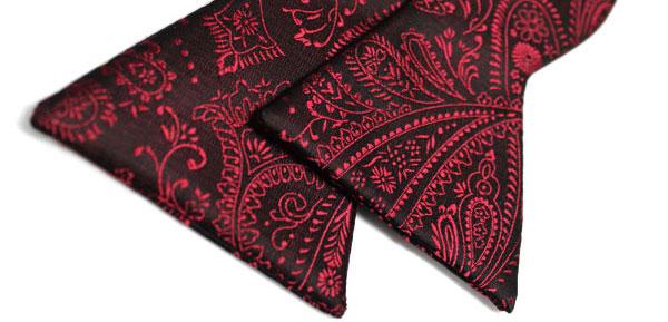Unisex Black Burgundy Woven Adjustable Paisleys Jacquard Tuxedo K-pop Style Bowtie