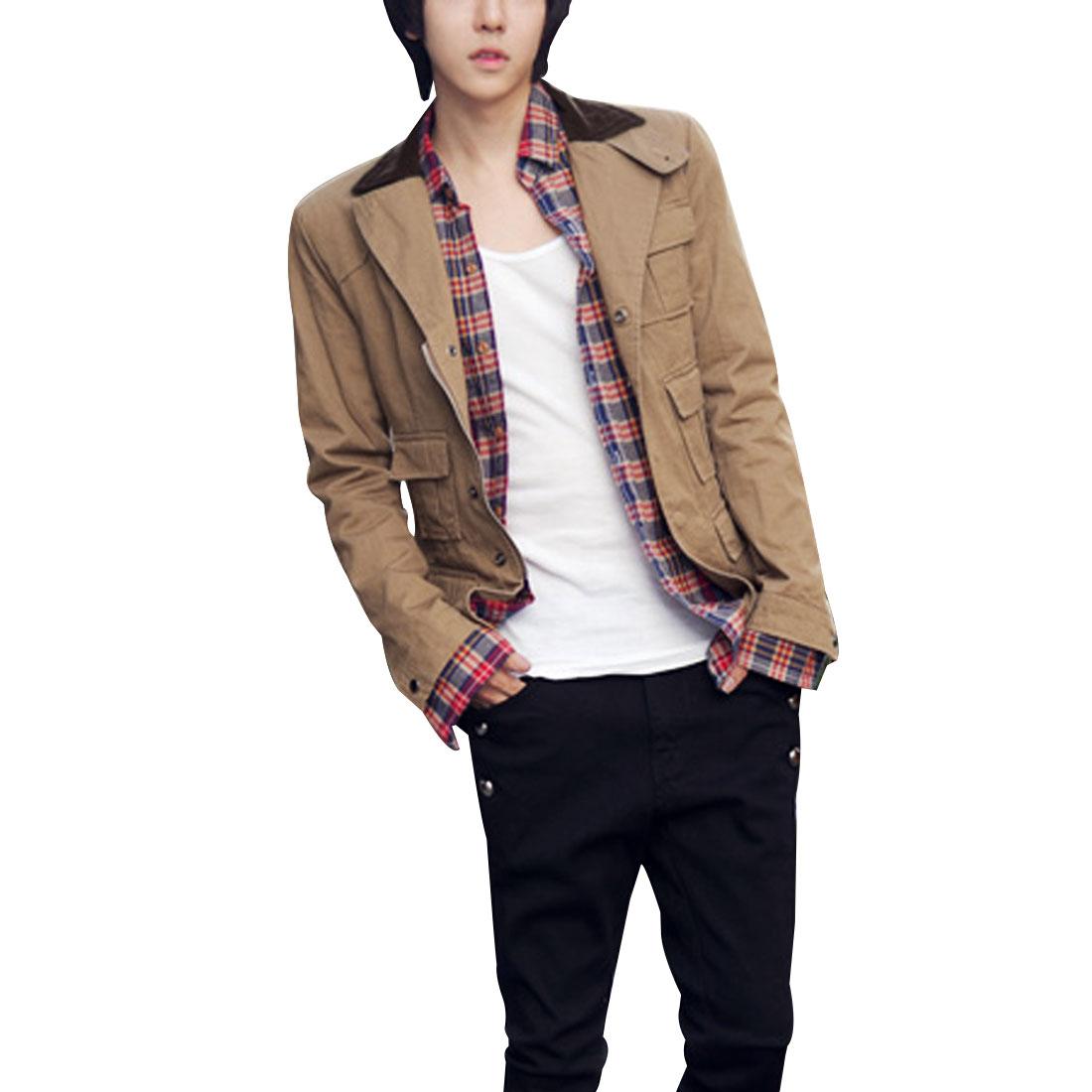 Man-Single-Breasted-Five-Pockets-Design-Front-Jacket-Khaki-M