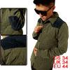Mens Army Green Dark Blue Preppy Style Thin Padded Shirt Jacket S