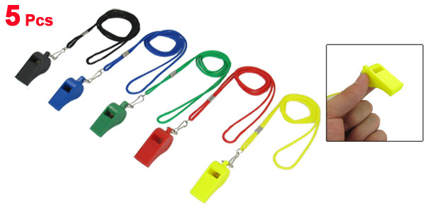 Sports Referee Game Plastic Coach Whistle Toy Assorted Color 5 Pcs w Lanyard