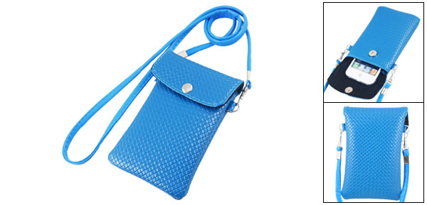 Press Stud Button Blue Faux Leather Checked Cellphone Pouch Bag Case w Strap