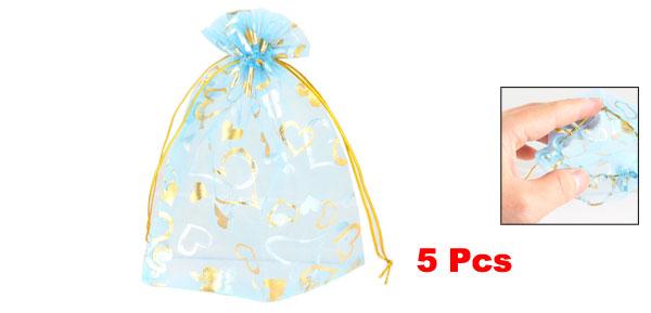 5 Pcs Gold Tone Heart Pattern Sky Blue Organza Wedding Candy Gift Bag Pouch