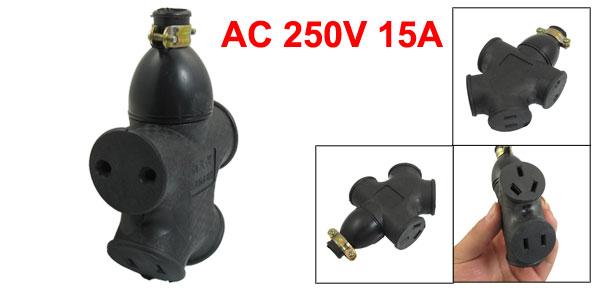 AC 250V 15A EU US AU 4 Outlet Industrial Power Socket Connector Black
