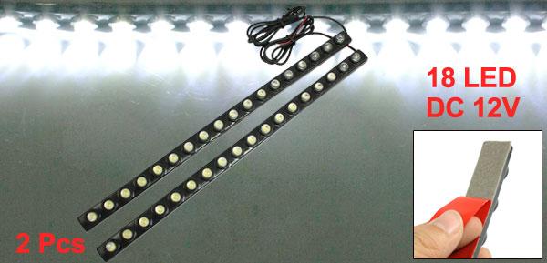 2 Pcs White 5050 18 LED Daytime Running Headlight Fog Light Lamp