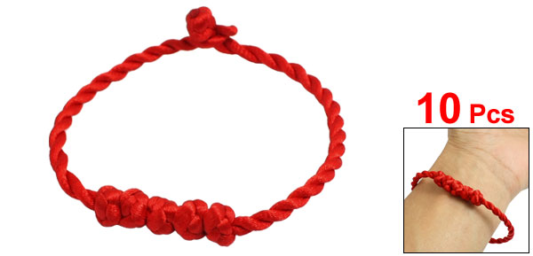 Knot Detail Red String Twisted Bracelet Bangle 10 Pcs for
