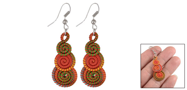 Women Lady Pair Multicolor Nylon Cord Spiral Pendant Metal Earrings