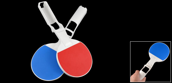 2 Pcs Plastic Pingpong Table Tennis Paddle Bat Blue Red for Nintendo Wii Video Game