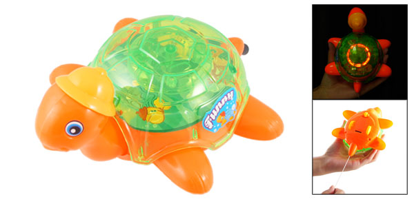 Kids Playing Orange Green Plastic Hatted Turtle Shape Pull String Flash Toy
