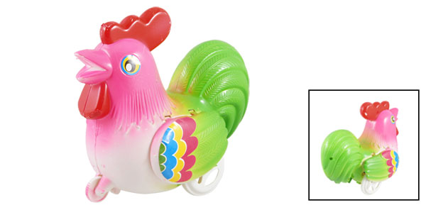 Playing Pull String Ringing Plastic Chicken Toy Pink Green