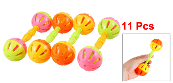 11 Pcs Assorted Color Plastic Double Ball Ends Hand Shake Bell Kids Play Toy