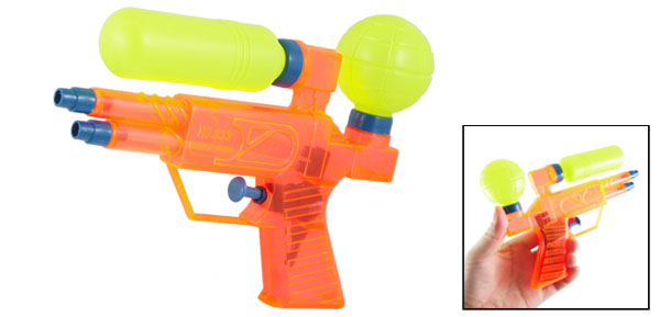 Children Playing Toy Orange Yellow Blue Plastic Water Pistol Squirt Gun
