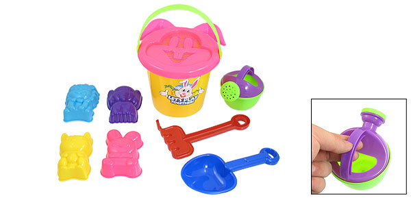 Yellow Plastic Pail Blue Shovel Animal Shape Sand Mould Summer Beach Toy