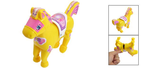 Yellow Plastic Cartoon Running Horse Wind up Toy