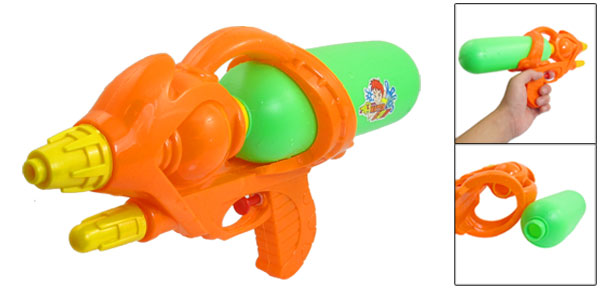 Kids Orange Green Plastic Yellow Nose Water Spray Gun Squirt Toy 12.2