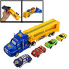 Children 5 in 1 Plastic Cartoon Truck Car Toys Set Blue Yellow