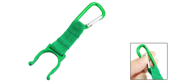 Climbing Nylon Cord Green D Shaped Carabiner Key Chain + Bottle Holder