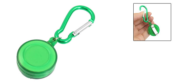 Hiking Green Spring Loaded Closure Carabiner Retractable Round Badge Reel